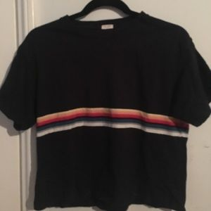 Basic rainbow striped brandy Melville tee